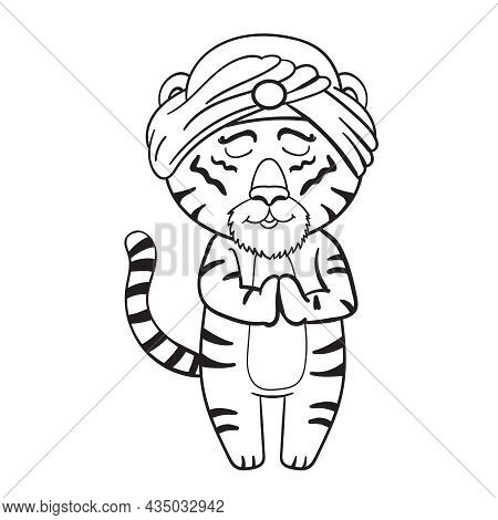 Lovely Tiger In A Turban, Isolated Vector Illustration Coloring