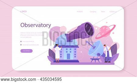 Astronomer Web Banner Or Landing Page. Professional Scientist