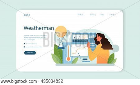 Meteorologist Web Banner Or Landing Page. Weather Forecaster Studying