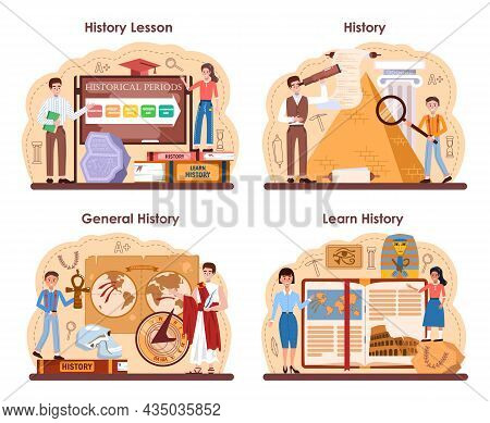 History Lesson Concept Set. History School Subject, Knowledge Of The Past