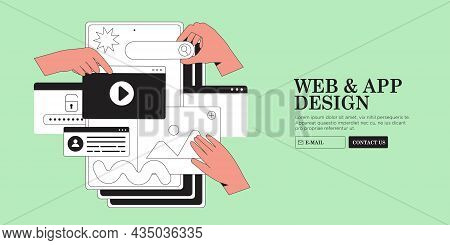 Hands Are Working On Website Or Web Page, Ui Ux Design Or Mobile Application Redesign. Studio Or Age