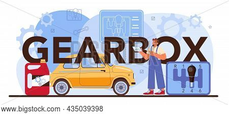 Gearbox Typographic Header. Car Repair Service. Automobile