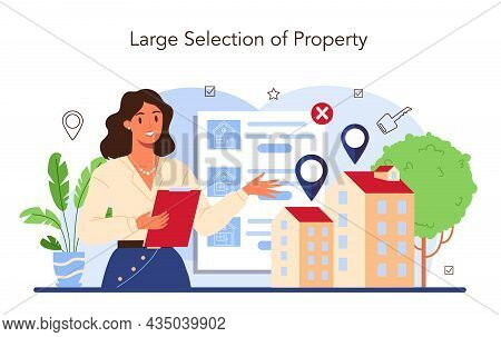 Real Estate Industry. Idea Of Wide Selection Of House For Sale And Rent.