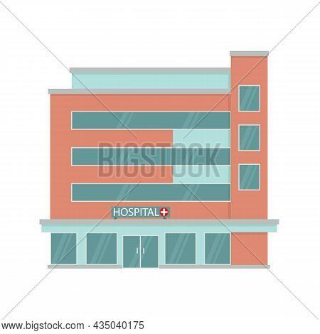 City Hospital Building In Flat Style. Medicine, Hospital And Medical Care. Ambulance. Vector Illustr