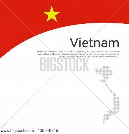 Abstract Vietnam Flag, Mosaic Map. Creative Background For Design Of Patriotic Vietnamese Holiday Ca