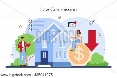 Real Estate Industry. Low Comission For Real Estate Agent Work