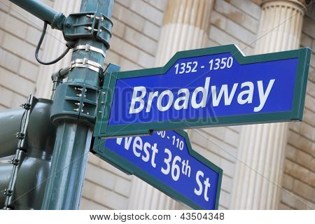 Corner of the Broadway and West 36th Street sign New York City. poster