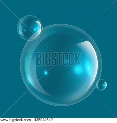 Soap Bubble. Fresh Macro Realistic Transparency Foam Bubble, Pure Water Or Transparent Laundry Liqui