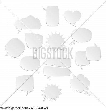 Speech Bubbles White. Bubble Symbols, Mental Text, Origami Bubble Different Forms Square And Round,