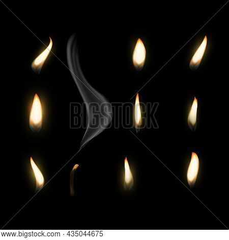 Fire Flame Candle. Realistic Candlelight, Burning Warm Fire Light And Smoke Close-up For Animation P