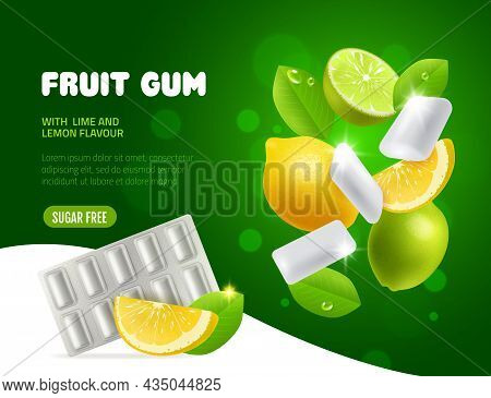 Fruit Chewing Gum. Lime And Lemon Taste Bubblegum, Vortex Of Flying Citrus Slices With Leaves And Wh