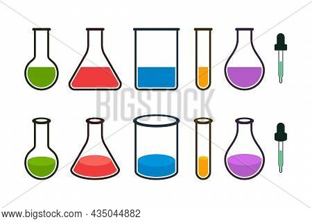 Colorful Laboratory Bottles, Beakers, Flasks And Droppers With Molecules On White Background. 2d And