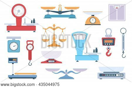 Scales Types. Different Scales Variants, Weighing Balance, Cartoon Flat Style, Cargo And Grocery, Fi