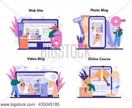 Depilation And Epilation Online Service Or Platform Set. Hair Removal