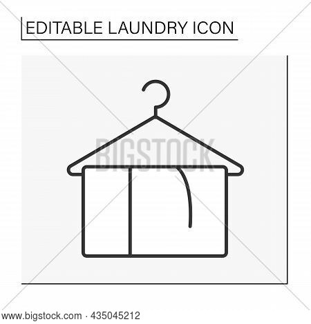 Towel Line Icon.householding. Clear Napkin For Face Or Body. Laundry Service Concept. Isolated Vecto