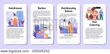 Hairstylist Mobile Application Banner Set. Idea Of Hairdressing In Salon