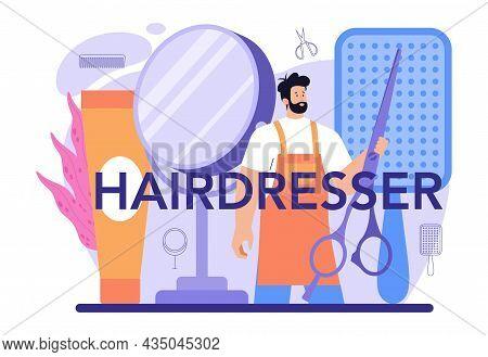 Hairdresser Typographic Header. Idea Of Hairdressing In Salon. Scissors
