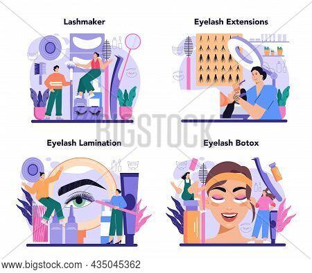 Lashmaker Concept Set. Eyelash Extension, Eyelashes Volume Correction