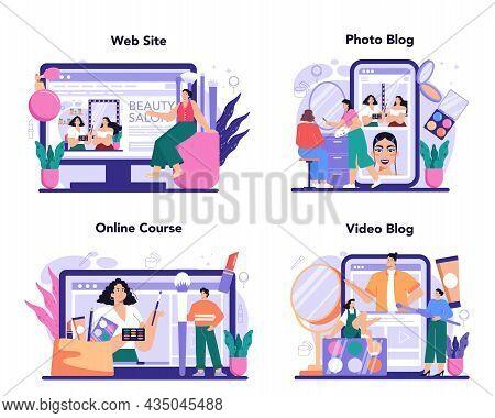 Make Up Artist Online Service Or Platform Set. Professional Artist