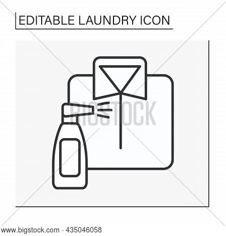 Spray Line Icon. Washing Spray For Clothing. Laundry Service Concept. Isolated Vector Illustration.e