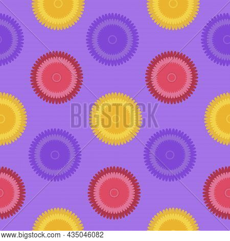 Seamless Pattern Fantasy Flower Yellow Pink Purple Lilac. Design For Fabric, Textile, Wrapping Paper