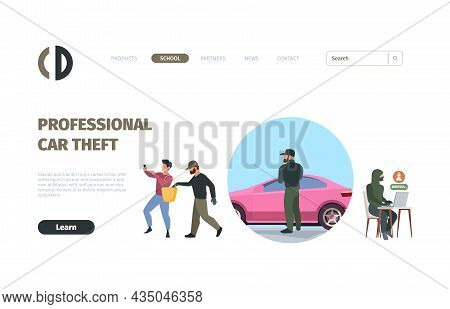 Robbery Landing Page. Victim Masked Thieves Web Template Layout Design Garish Vector Flat Picture Wi