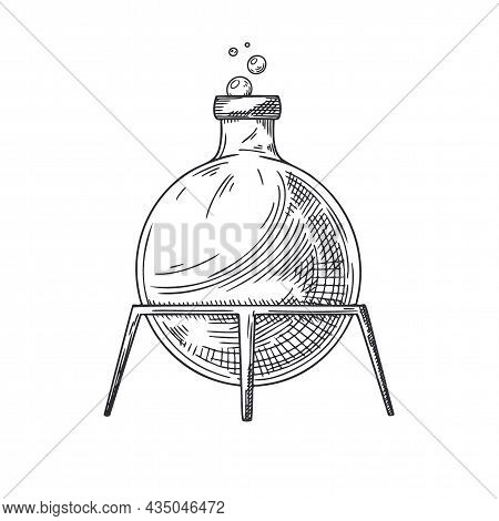 Sketch Of A Chemical Laboratory Object. Pharmaceutical Flasks, Beakers And Test Tubes. Discovery And