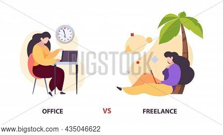 Freelance Vs Office Work. Woman With Laptop In Diverce Location Vector Concept