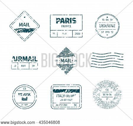 Postal Stamp. Grunge Post Templates Vintage Blank Tags Stripped Lines Marks Textures Garish Vector S
