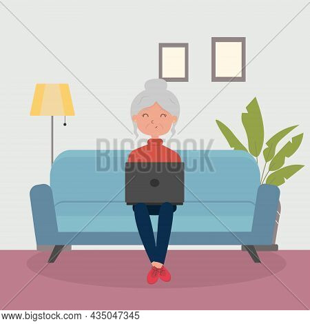 Cute Cartoon Grandmother Sitting With A Laptop