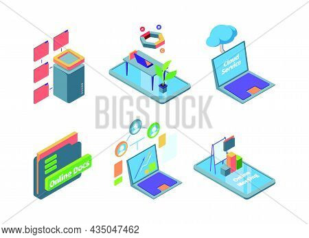 Remote Office. Isometric Business Telecommunication Control Systems Sharing Data Folders Distance Of
