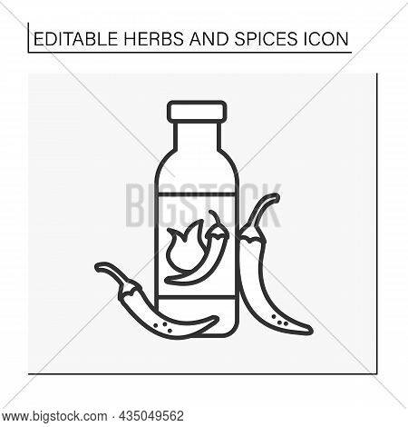 Chili Line Icon. Hot-tasting Sauce For Bbq With Pepper Pieces. Additional Taste For Food. Herbs And