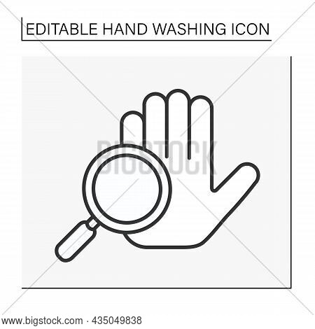 Expertise Line Icon. Researching Hand Cleaning. Hygiena Concept. Isolated Vector Illustration. Edita