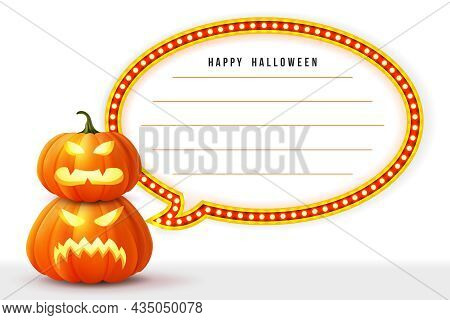 Happy Halloween 3d Realistic Scary Jack Lantern And Neon Circus Lights Frame Memo Template