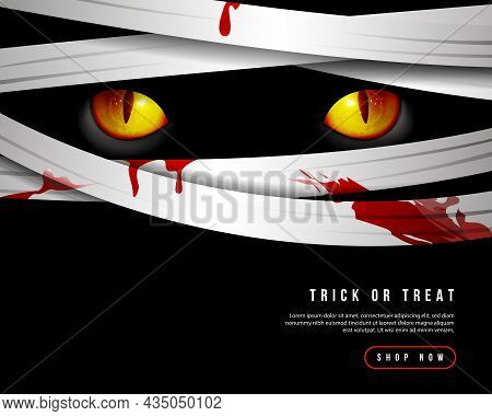 Happy Halloween Scary Mummy Eyes And Bloody Cloth Strips