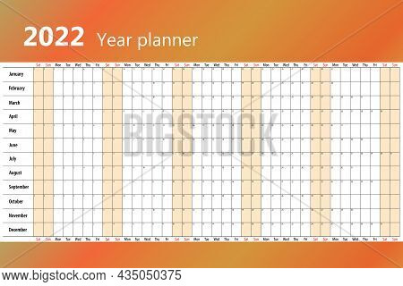 Planner Calendar For 2022 On One Page. Orange Tones, Saturday And Sunday Are Highlighted In Color. V