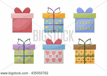 A Large Set Of Bright Colored Gift Boxes. Boxes For Gifts For New Year, Christmas, Birthday, As Well