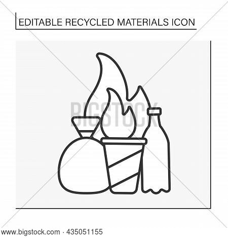 Garbage Incineration Line Icon. Air Pollution By Smog From Waste. Recycled Materials Concept. Isolat