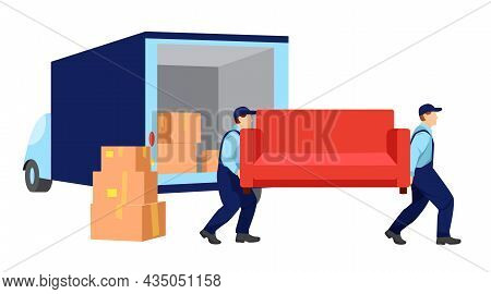 Movers Carry A Sofa. Boxes With Things And Truck Are Standing Nearby. Relocation. Transport Company.