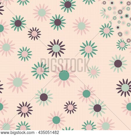 Pink Pastel Daisy Geometric Vector Seamless Pattern