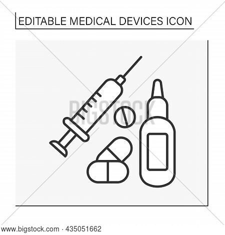 Treatment Line Icon. Injections, Pills And Drugs, Nasal Spray.special Treatment Things. Medical Serv