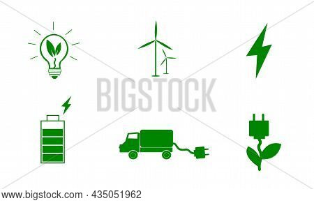 Eco Icons. Green, Renewable Energy. Natural Fuel. Light Bulb. Ecological Concept Of Alternative Ener