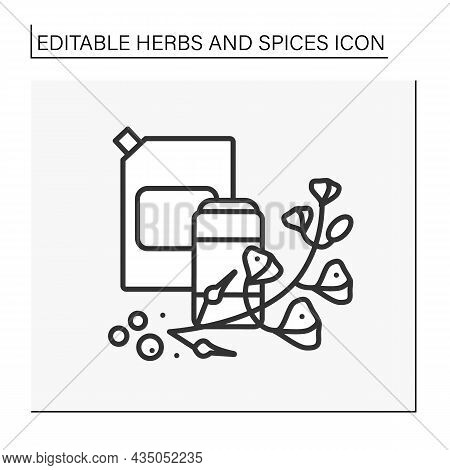 Mustard Line Icon. Hot-tasting Seasoning In A Jar For Food. Strong-smelling And Strong-tasting Herb.
