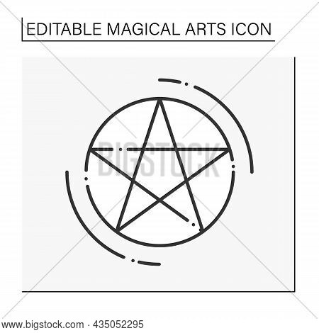 Pentagram Line Icon. Five-pointed Star For Making Sacrifice. Magic Symbol. Magical Arts Concept. Iso