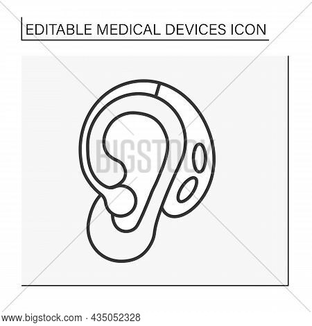 Hearing Amplifier Line Icon. Personal Sound Amplification Products. Louder Sound In Ear. Medical Dev
