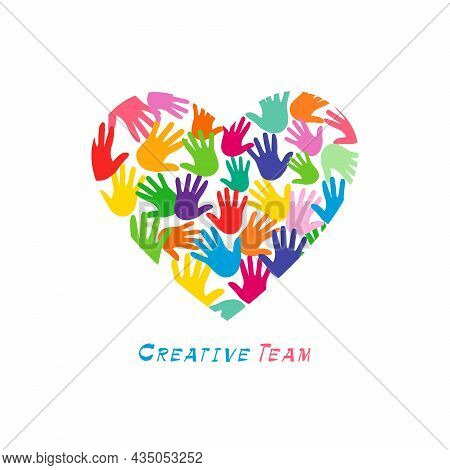 Heart logo concept. Lovely creative logotype idea. Colored symbol of friendship. Bright sign of kids arts. Abstract isolated graphic design template. Heart with hand palms inside. White background.