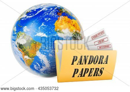 International Offshore Corruption, Pandora Papers, Concept. 3d Rendering Isolated On White Backgroun