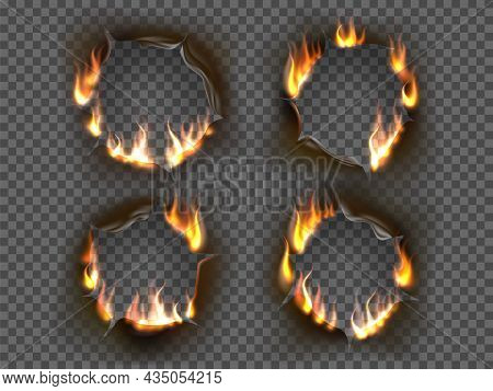 Burning Holes. Round Irregular Shapes Burnt Paper Hole, Realistic Smoldering Effect, Curling Hot Ash