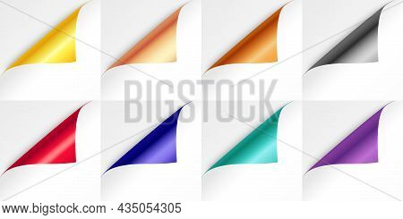 Color Foil Curl. Realistic Metal Pages With Bent Corners, Reminder Blank Stickers Different Colors,