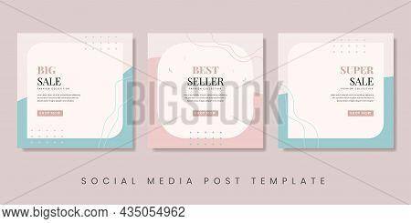 Creative Fashion Sale Social Media Post Template. Feminine Background For Brochure, Flyer, Banner, E